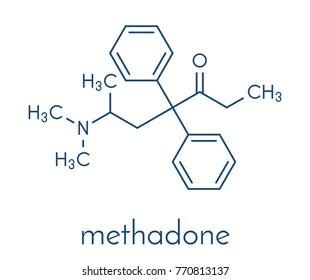 Methadone opioid dependency drug molecule. Also used as analgesic. Skeletal formula.