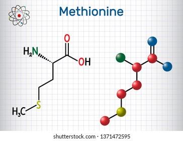 Methionine (l- methionine, Met , M) essential amino acid molecule.  Sheet of paper in a cage. Structural chemical formula and molecule model. Vector illustration