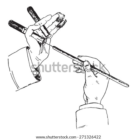 Method of holding tube, cotton and platinum wire while inculcating solid media, vintage engraved illustration.