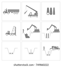 Method statement of construction pile driving and foundation work icons, Vector, Illustration