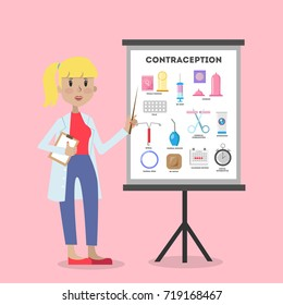 Methods of contraception. Female doctor explaining board.