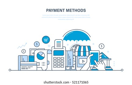 Methods and forms of payment, security of financial transactions. Illustration thin line design of vector doodles, infographics elements.
