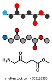 Methyl aminolevulinate non-melanoma skin cancer drug molecule. Used in photodynamic therapy. Conventional skeletal formula and stylized representations.