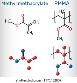Methyl methacrylate, MMA and poly(methyl methacrylate) , PMMA molecule. Methyl methacrylate is monomer  for the production of PMMA. Structural chemical formula and molecule model. Vector illustration