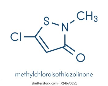 Methylchloroisothiazolinone preservative molecule, chemical structure. Often used in water-based products, e.g. cosmetics. Skeletal formula.
