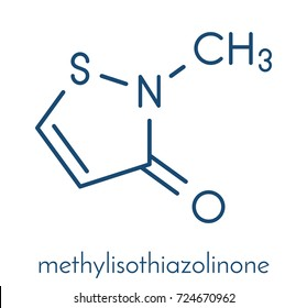 Methylisothiazolinone (MIT, MI) preservative molecule, chemical structure. Often used in water-based products, e.g. cosmetics. Skeletal formula.