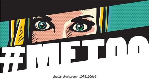 #metoo. Me too movement pop art style banner with woman face