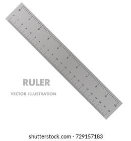 Metric imperial and decimal inch rulers vector set. Measure tools equipment illustration
