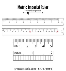 Metric Imperial Rulers Vector. Centimeter And Inch. Measure Tools Equipment Illustration Isolated On White Background.