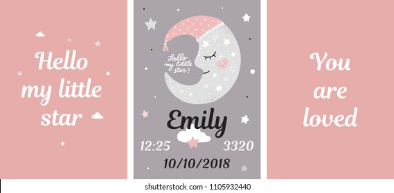 Metric poster girl room decor night sweet baby girl moon star name time lettering