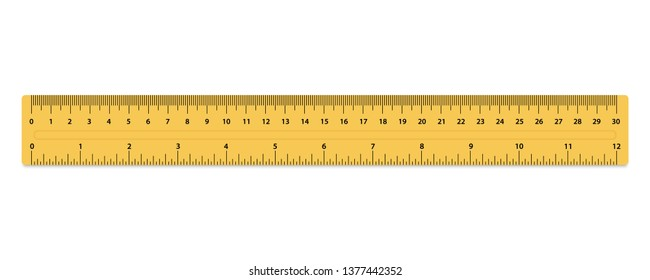 Metric Rulers. Size indicator units. Measuring tool. Ruler 30 cm. Plastic yellow isolated ruler with inch and centimeters
