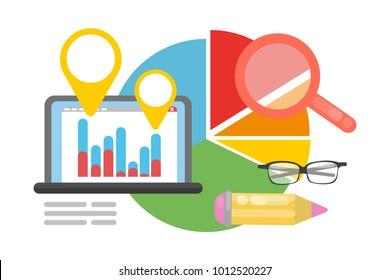 Metrics concept illustration. Data chart with calculator.