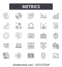 Metrics line icons, signs set, vector. Metrics outline concept, illustration: web,graph,business,chart,metrics,concept,metric