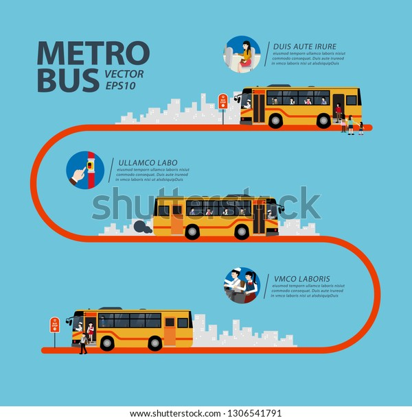 Metro Bus Route Map Template Vector Stock Vector (Royalty