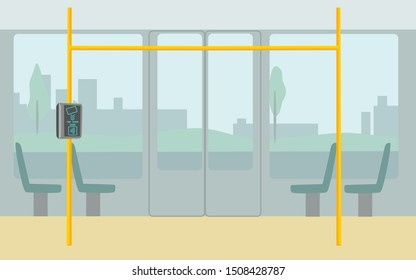 Metro, bus, subway ticket validator flat vector illustration. Wireless, contactless, cashless payments, rfid nfc concept. Public transport nfc payment. Payment of a travel card or phone in transport.