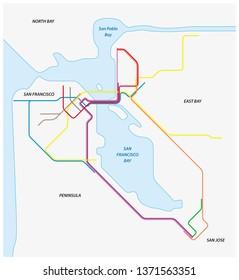 Metro map of San Francisco and the california bay area