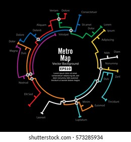 Metro Map Vector. Fictitious City Public Transport Scheme. Colorful Background With Stations