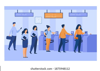 Metro passengers scanning electronic train tickets at entrance and turnstiles. Subway employees in uniforms keeping order. Vector illustration for public transport, automatic service concept