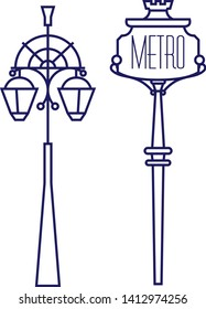 Metro sing and street lamp geometric illustration isolated on background