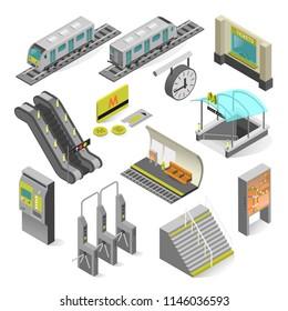 Metro station elements isometric. Subway station, railway rapid transit system, metro platform set and underground railway. Vector illustration