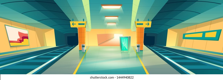 Metro station, empty subway platform, underground interior design with map and ads banners. Modern metropolitan, railroad urban transportation background, public railway. Cartoon vector illustration