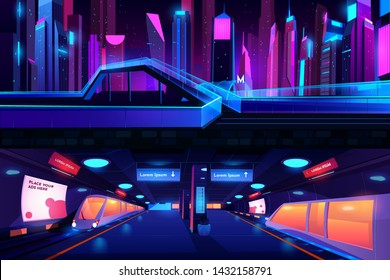 metro station ground and underground cross section view with train, empty subway platform interior, metropolitan entrance in neon night city, glass pedestrian overhead road Cartoon vector illustration