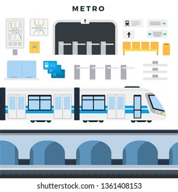 Metro station, train, map, navigation, passenger seats, turnstile, tickets. Subway elements set for banner, infographics, website. Vector illustration, isolated on white background.