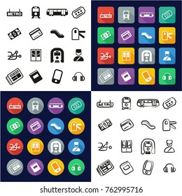 Metro Or Subway All in One Icons Black & White Color Flat Design Freehand Set