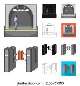 Metro, subway cartoon,black,flat,monochrome,outline icons in set collection for design.Urban transport vector symbol stock web illustration.