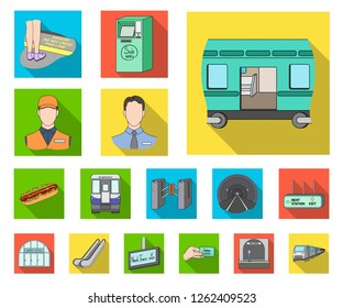 Metro, subway flat icons in set collection for design.Urban transport vector symbol stock web illustration.