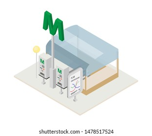 Metro token dispenser isometric illustration. Automated ticket vending machine, metropolitan signboard. Railroad, railway system banner, subway navigation map. Underground station attribute