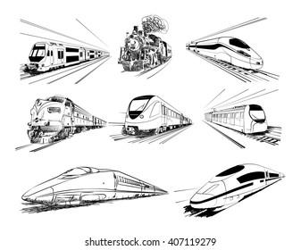 Metro train collection in vector sketch