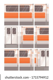 Metro train empty interior parts semi flat vector illustration set. Subway seat row, door and handrails. Public transport with nobody inside. Train 2D cartoon background for commercial use