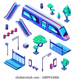 Metro train station vector illustration of isometric isolated icons. Underground or subway railway station elements of passenger platform, escalators stairs for layout plan construction