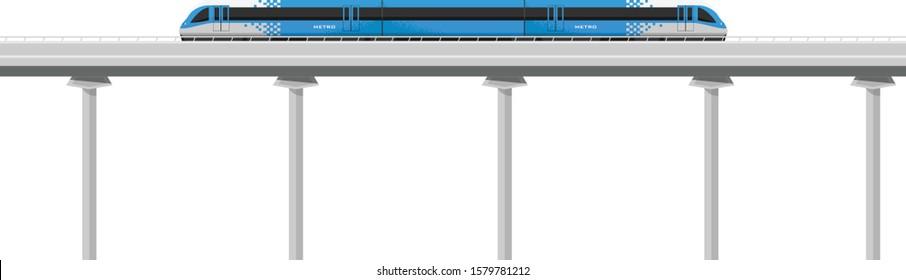 Metro train vector flat illustration