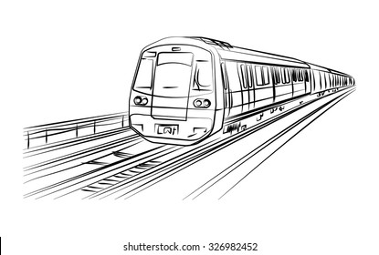 Metro train vector sketch in black lines