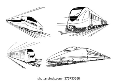 Metro train vector sketches in black lines