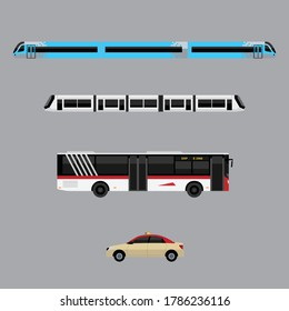 metro tram bus and taxi of dubai transportation