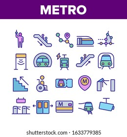 Metro Underground Collection Icons Set Vector Thin Line. Metro Train And Equipment, Ticket And Card, Door And Video Camera, Escalator And Turnstile Pictograms. Color Contour Illustrations