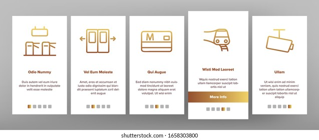 Metro Underground Onboarding Icons Set Vector. Metro Train And Equipment, Ticket And Card, Door And Video Camera, Escalator And Turnstile Illustrations