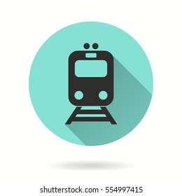Metro vector icon. Black illustration isolated on green background for graphic and web design.