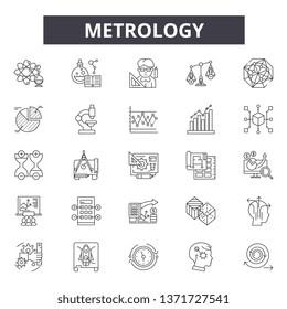 Metrology line icons, signs set, vector. Metrology outline concept, illustration: metrology,detechnology,equipment,meter