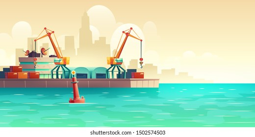 Metropolis cargo seaport with freight cranes on shore, loading, unloading containers, warehouse hangars, terminal control center building cartoon vector illustration. Maritime transport infrastructure