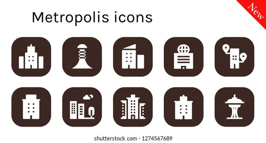metropolis icon set. 10 filled metropolis icons. Simple modern icons about  - Building,