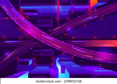Metropolis night freeway neon colors, top view cartoon vector. Cars going in two level highway with junction and overpass among illuminated skyscrapers illustration. Modern city road infrastructure