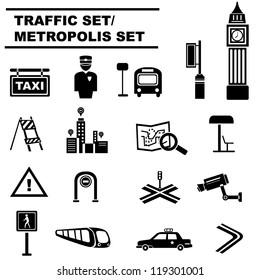 metropolis set, traffic icon set