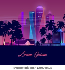 Metropolis in tropics cartoon vector banner in neon colors. Resort city nightlife concept with illuminated skyscrapers, mall, shopping center or casino building, palm trees silhouettes illustration