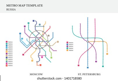 Metro/subway map design template, city transportation - Russia Moscow & St. Petersburg City, scheme for underground road, Russian major city