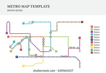 Metro/subway map design template, city transportation -Hong Kong, china, scheme for underground road, city/transit line