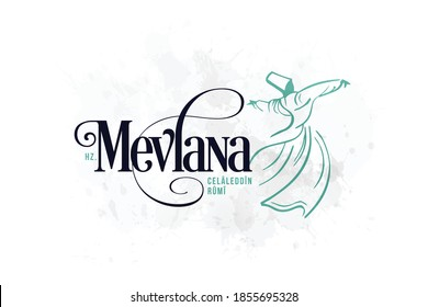 Mevlana Celaleddin-i Rumi, 17 Aralik 1273 Mevlana Haftasi Turkey Konya, Şeb-i Arus. Tebrik Karti. Translation: Mevlana Rumi Day, December 2. Whirling Dervish Sufi Religious Dance.